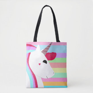 Glittery Unicorn with Stripes - Cute Drawing Tote Bag