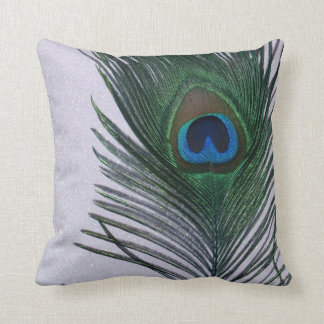 Glittery White Peacock Feather Still Life Throw Pillow