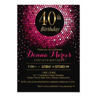 Glitz Bling Confetti 40th Birthday | fuchsia gold Card