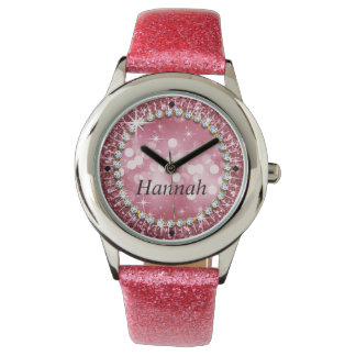 Glitz Glam Bling Glitter Pink Watch
