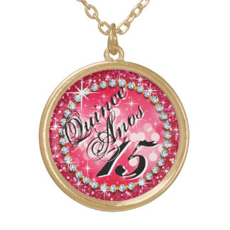 Glitz Glam Bling Quinceañera Celebration hot pink Gold Plated Necklace