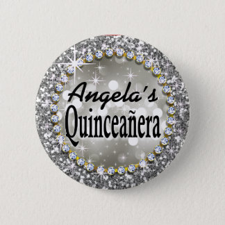 Glitz Glam Bling Quinceañera Celebration silver 2 Inch Round Button