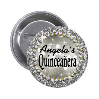 Glitz Glam Bling Quinceañera Celebration silver 2 Inch Round Button