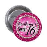 Glitz Glam Bling Sweet 16 Celebration fuschia 2 Inch Round Button