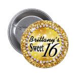 Glitz Glam Bling Sweet 16 Celebration gold brite 2 Inch Round Button