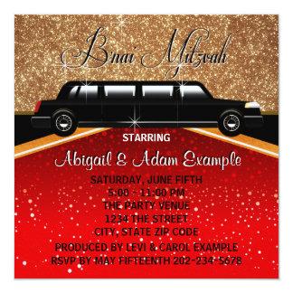 Glitz Glamour Red Carpet Movie Star B'nai Mitzvah Card