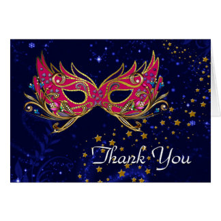 Glitz  Masquerade Sweet 16 Party Thank You Note Card