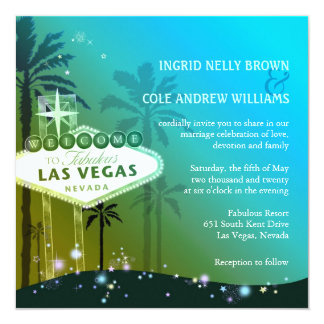 "Glitz n Glam Las Vegas Wedding 5.25"" Square Invitation Card"