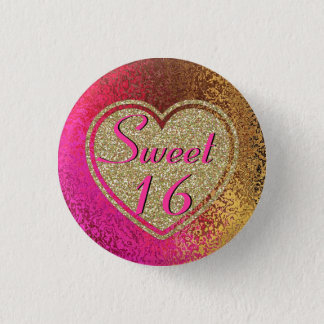 Glitz Pink & Gold Sweet 16 1 Inch Round Button