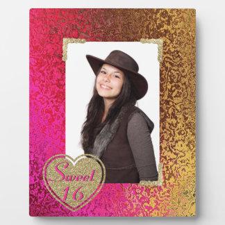 Glitz Pink & Gold Sweet 16 Photo Plaque