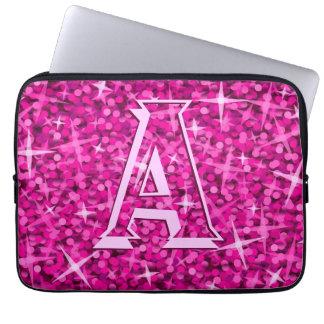 Glitz Pink 'monogram' laptop sleeve 13 inch