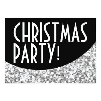 "Glitz ""Silver"" black curve 'Christmas Party' Card"