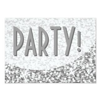 """Glitz """"Silver"""" curve 'Party!' invitation"""
