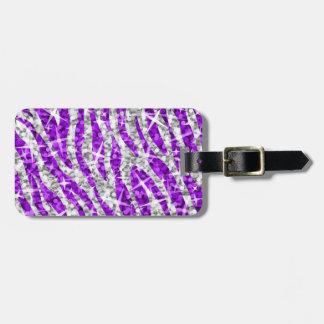 Glitz Zebra Purple 'text' luggage tag