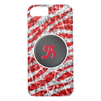 Glitz Zebra Red monogram iPhone 7 black iPhone 8/7 Case