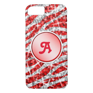 Glitz Zebra Red monogram iPhone 7 red iPhone 8/7 Case