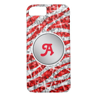 "Glitz Zebra Red monogram iPhone 7 ""silver"" iPhone 8/7 Case"