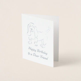 Glitzy Basset Hound Outline - Add Your Own Text Foil Card