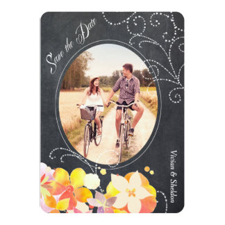 Glitzy Floral Chalkboard Photo Save the Date Cards Custom Invite