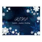 Glitzy Floral Winter Wonderland Wedding RSVP Postcard
