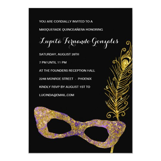 Glitzy Glamour | Masquerade Quinceanera Party Card