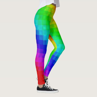 Glitzy Glamour Rainbow Mosaic Tile Ladies Legging. Leggings