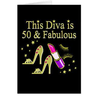 GLITZY GOLD 50TH BIRTHDAY DIVA DESIGN CARD