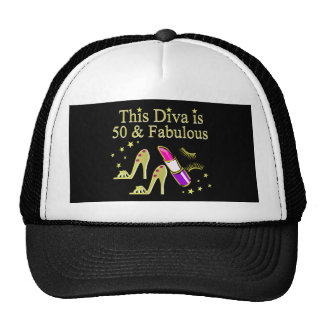GLITZY GOLD 50TH BIRTHDAY DIVA DESIGN TRUCKER HAT