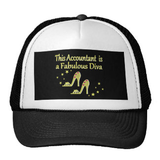 GLITZY GOLD ACCOUNTANT DIVA DESIGN TRUCKER HAT