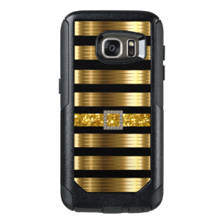 Glitzy Gold And Black Bling Style OtterBox Samsung Galaxy S7 Case
