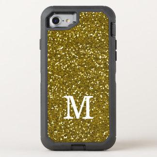 Glitzy Gold Glitter Monogram OtterBox Defender iPhone 8/7 Case