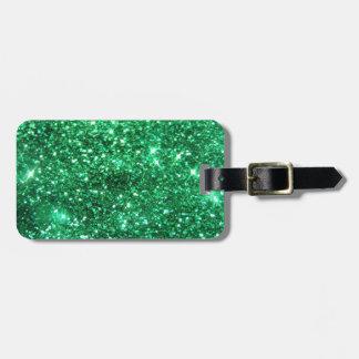 Glitzy Green Glitter Luggage Tag