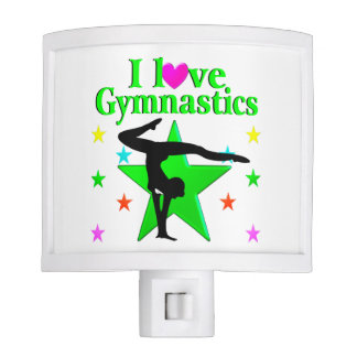 GLITZY GREEN I LOVE GYMNASTICS DESIGN NITE LITES