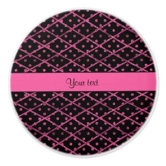 Glitzy Hot Pink Glitter Polka Dots & Diamonds Ceramic Knob