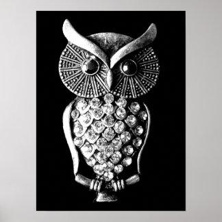 Glitzy Jewelled Metal Owl Poster