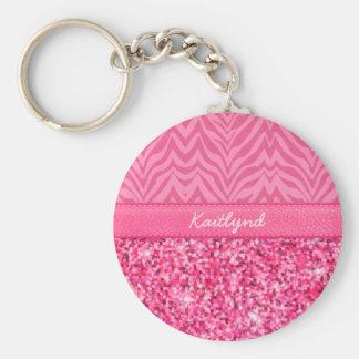 Glitzy Pink Zebra Basic Round Button Keychain