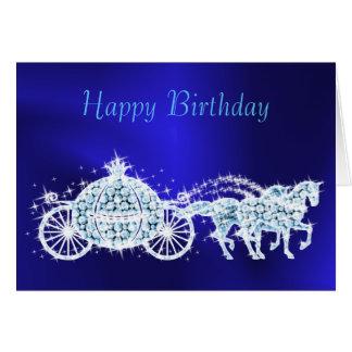 Glitzy Princess Blue Coach & Horses Birthday Card