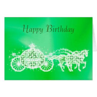 Glitzy Princess Green Coach & Horses Birthday Card