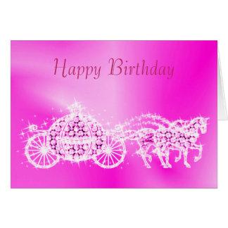 Glitzy Princess Pink Coach & Horses Birthday Card