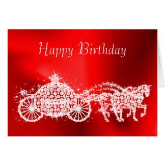 Glitzy Princess Red Coach & Horses Birthday Card