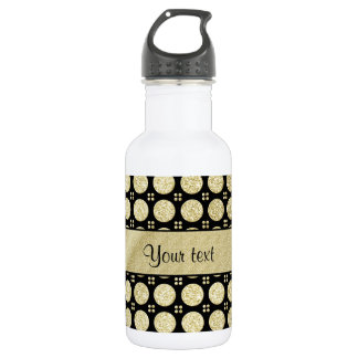 Glitzy Sparkly Faux Gold Glitter Buttons 532 Ml Water Bottle