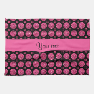 Glitzy Sparkly Hot Pink Glitter Buttons Kitchen Towel