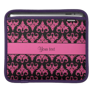 Glitzy Sparkly Hot Pink Glitter Damask Sleeves For iPads