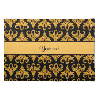 Glitzy Sparkly Orange Glitter Damask Placemats