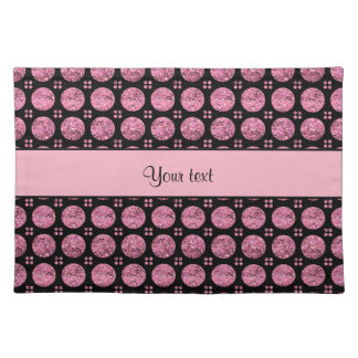 Glitzy Sparkly Pink Glitter Buttons Placemat