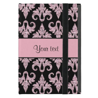 Glitzy Sparkly Pink Glitter Damask Covers For iPad Mini