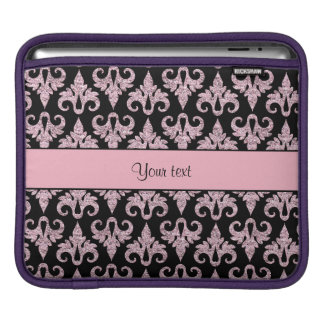 Glitzy Sparkly Pink Glitter Damask iPad Sleeves
