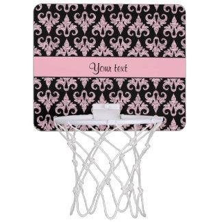 Glitzy Sparkly Pink Glitter Damask Mini Basketball Hoop