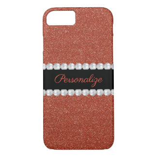 Glitzy Sparkly Red Glitter & Pearls iPhone 8/7 Case