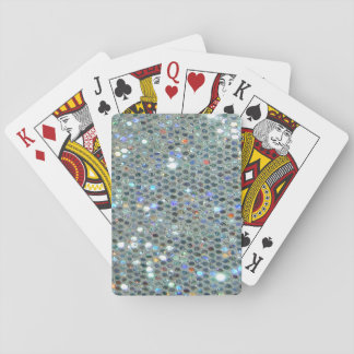 Glitzy Sparkly Silver Glitter Bling Playing Cards